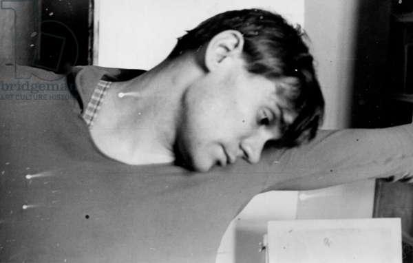 Solo Dancer Vladimir Vasiliev at rehearsal, Bolshoi Theatre, Moscow, 1964 (b/w photo)