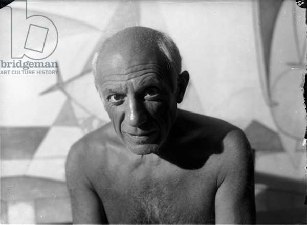 Pablo Picasso in his workshop in Antibes, Summer 1946 (b/w photo)
