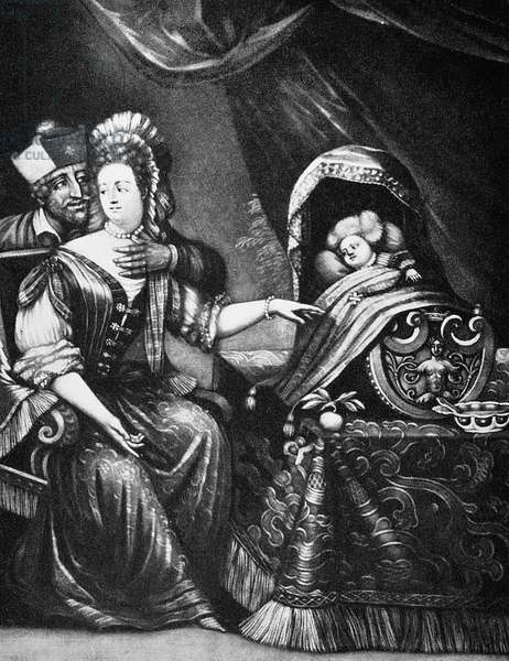 JACOBITE SATIRE, c.1688 Satire on the birth of Prince James Francis Edward (1688-1766)); figure at left is Father Edward Petre, confessor of King James II. Contemporary mezzotint engraving, attributed to Pieter Schenk the Elder.