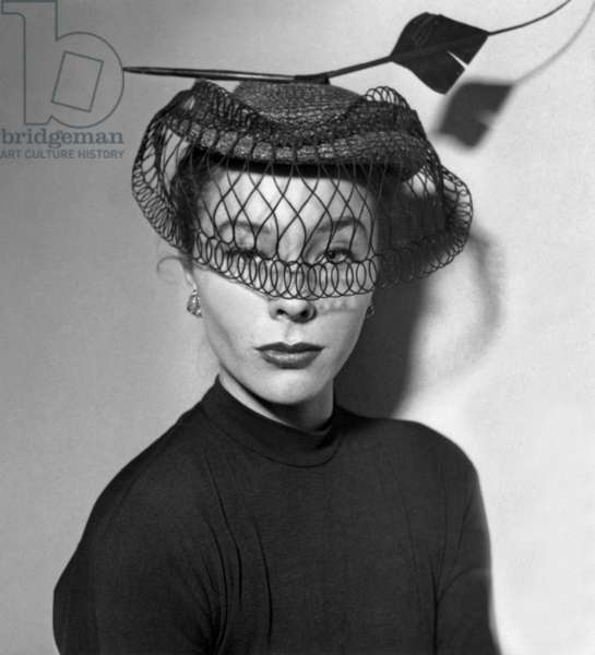 Model Bettina Posing For Hat By Rose Valois January 16, 1951 (b/w photo)