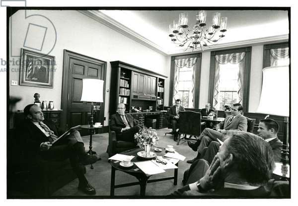 A High-level staff meeting in the office of H.R. Haldeman, 25th November 1970 (b/w photo)