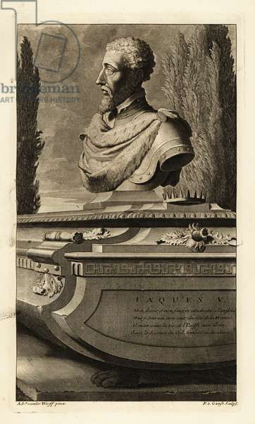 Portrait of a bust of King James V of Scotland, with crown and thistle. Jaques V. Copperplate engraving by Pieter Stevens van Gunst after Adriaen van der Werff from Isaac de Larrey's Histoire d'Angleterre, d'Ecosse et d'Irlande, Reinier Leers, Rotterdam, 1713.