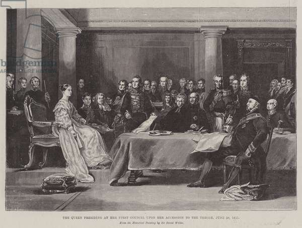 The Queen presiding at her First Council upon her Accession to the Throne, 20 June 1887 (engraving)