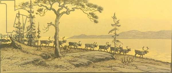 Reindeers, 1955 (linocut)