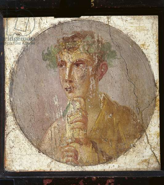 Portrait of a young man holding a papyrus scroll from Italy, Campania, Pompeii, painting on plaster, 55-79 A.D.