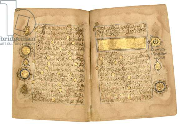 Qur'an, probably Mesopotamia, dated 17 Ramadan AH 599/ 6 June 1203 (gold on paper) (see also 488330, 31, 33 and 59)