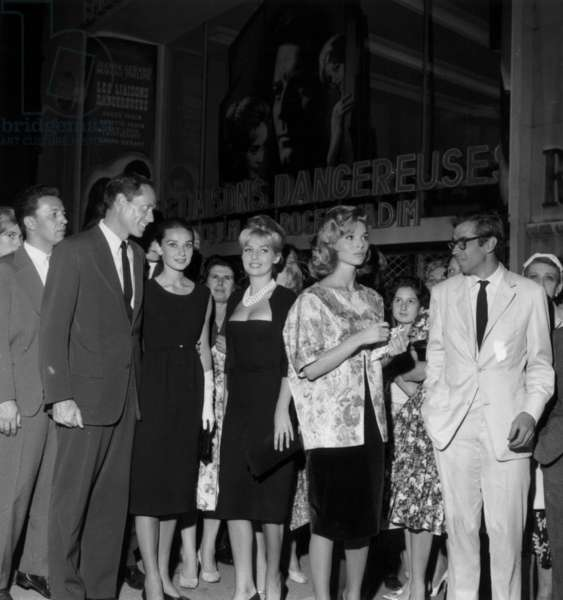 Mel Ferrer, Audrey Hepburn, Annette Stroyberg, Elsa Martinelli and Roger Vadim at Premiere of Film The Dangerous Liaisons September 9, 1959 (b/w photo)