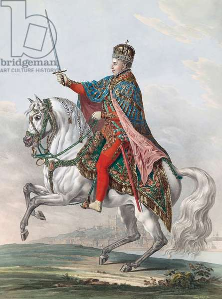 Emperor Ferdinand I of Austria on Horseback, 1830 (gouache on paper)