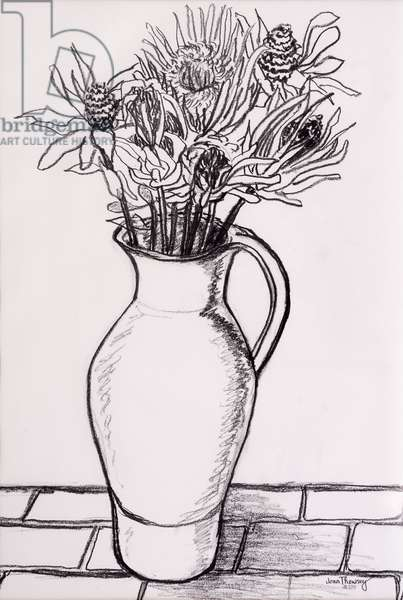 Brown Jug with Dried Flowers, 2000,graphite