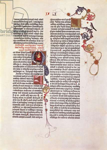 Page from the Bible for 42 lines or Mazarina, printed by Johan Gutenberg 15th Century.