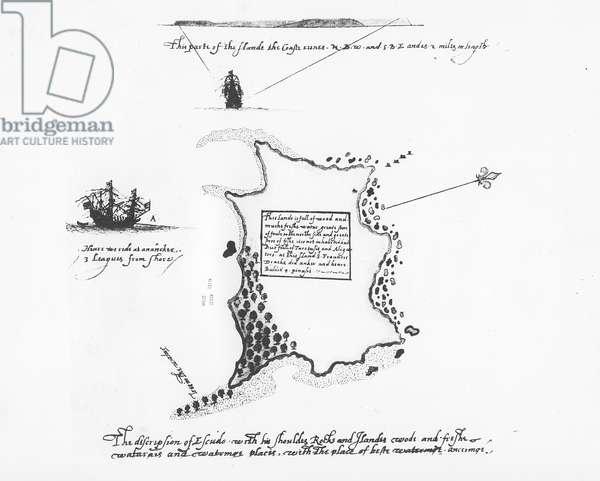 Description of Isla Escudo de Veraguas by Francis Drake (pen & ink on paper)