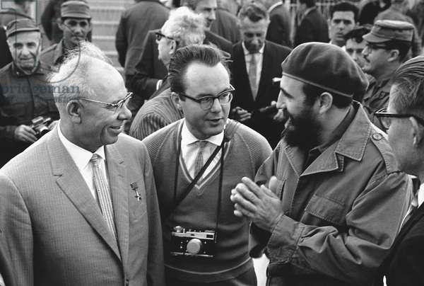 Fidel Castro And Nikolai Podgorny During A Talk In Cuba