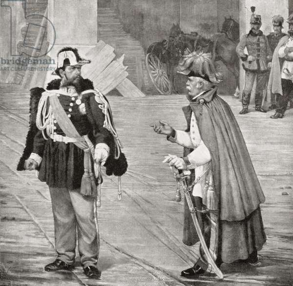 A Peace Conference. The meeting between Victor Emmanuel II and Count Radetzky, after the Battle of Novara, March 24, 1849.  Johann Josef Wenzel Graf Radetzky von Radetz.  Czech nobleman and Austrian general. Victor Emmanuel II, 1820 –  1878.  King of Italy.   From Edward VII His Life and Times, published 1910.