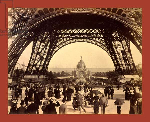 Crowd of People Walking Under the Base of Eiffel Tower, View Toward the Central Dome, Paris Exposition, 1889, France