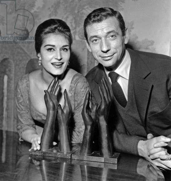 Dalida and Yves Montand February 27, 1959 (b/w photo)