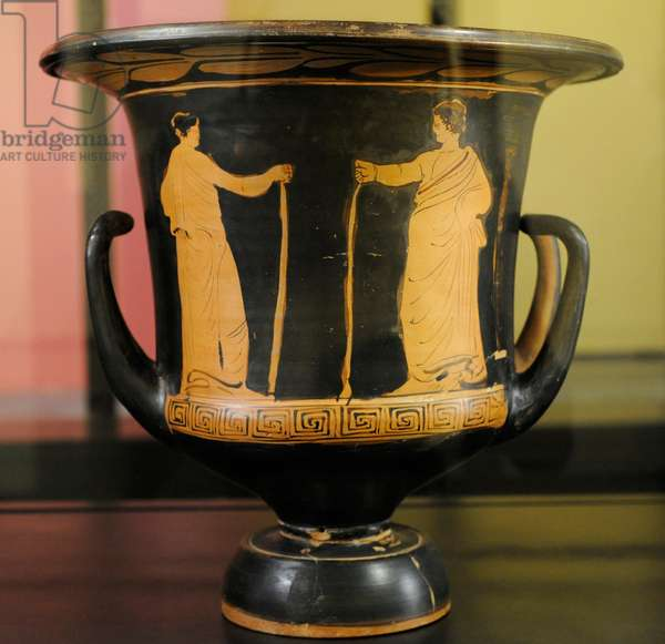 Red-figured krater on black ground, Decorated with two figures holding a staff