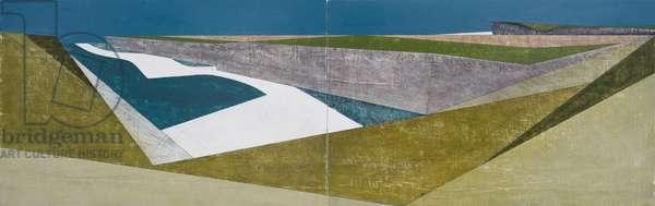 Long Coast 1 Diptych (acrylic on plywood)