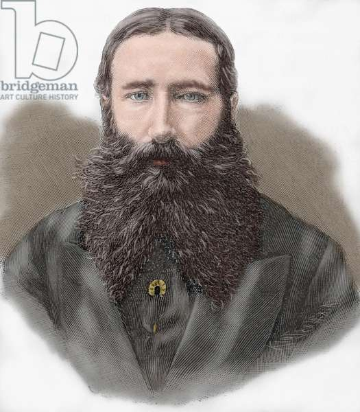 Leopold II of Belgium (1835-1909). Engraving. coloured.