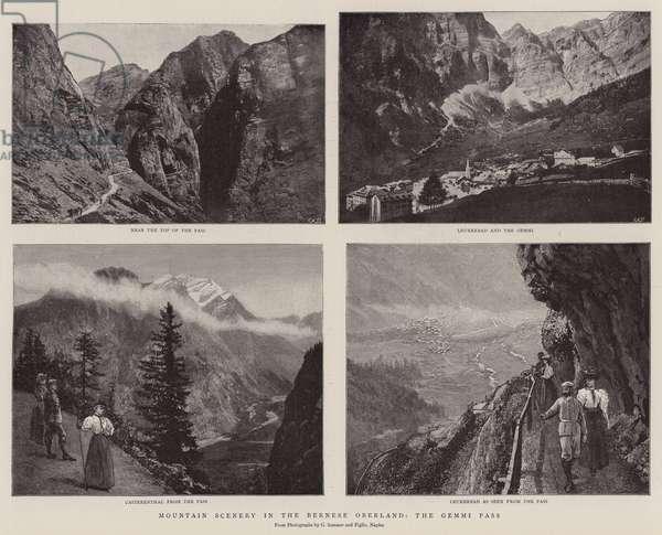 Mountain Scenery in the Bernese Oberland, the Gemini Pass (b/w photo)