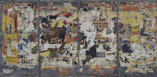 La Gitane, 1960-68 (décollage of lacerated billboard posters on four canvas panels)