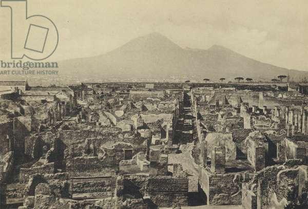 Naples: Pompei, Panorama Col Vesuvio (b/w photo)