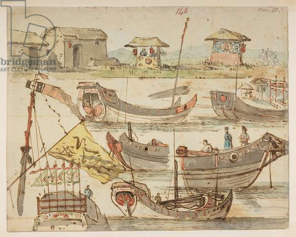 146 Boats. 'Nov 18.' , from an Album of 372 drawings of landscapes, coastlines, costumes and everyday life made during Lord Macartney's embassy to the Emperor of China, between 1792 and 1794 (pencil & w/c on paper)