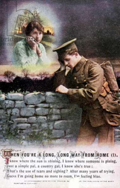 World War I: British soldier dreaming of his country sweetheart at home. Sentimental postcard c1914-1918.