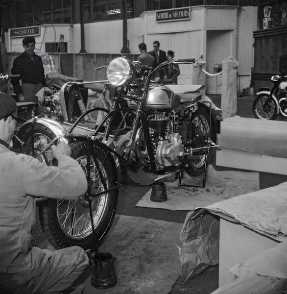 Bike and truck show, Grand Palais, Paris, October 26, 1949 (b/w photo)