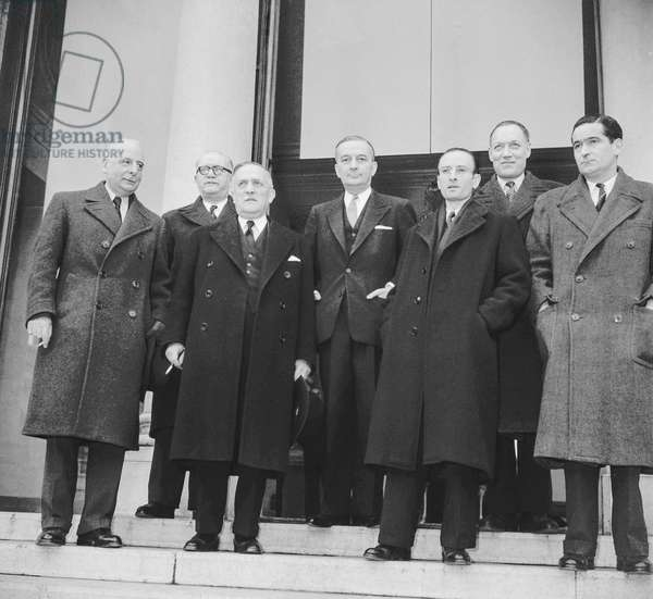 New Georges Bidault government, at the Elysee, Paris, February 1950 : the new ministers Jacques Chastellain, Charles Brune, Henri Queuille, Paul Bacon, Jean-Marie Louvel and Andre Colin (b/w photo)