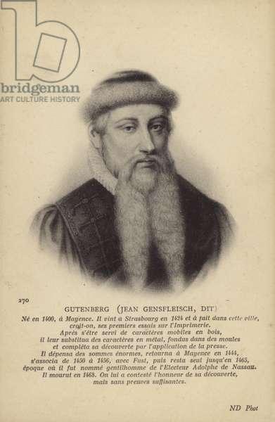 Johannes Gutenberg (c1395-1468), German inventor, engraver and printer (litho)