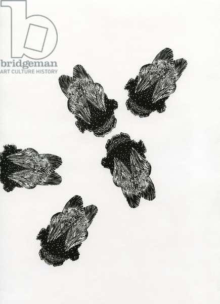 Bumblebees' Meeting, 2013 (wood engraving on paper)