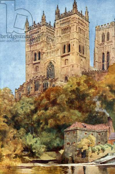 Durham, the Western Towers (colour litho)