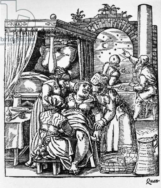 Two midwives comfort a woman sitting in a birthing chair while a third midwife delivers the baby; while in the background two men are consulting astrological charts and the stars. Engraving from Swiss physician, Jakob Rueff's, THE CONCEPTION AND GROWTH OF MAN, 1580