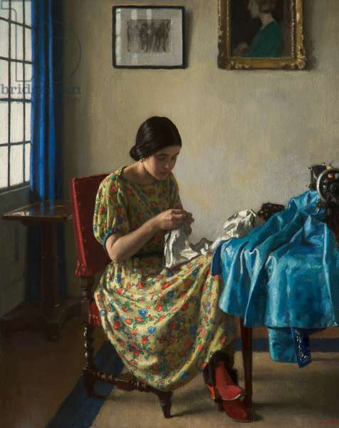 Sewing, c.1924 (oil on canvas)