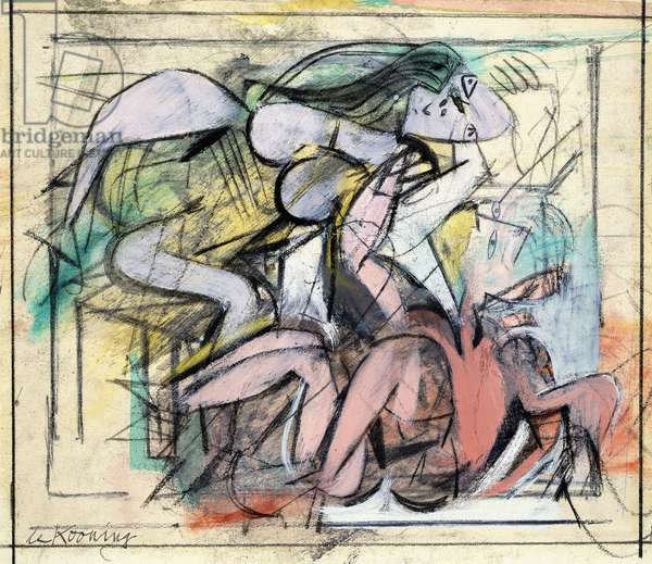 Two Figures, 1946-47 (oil, coloured chalks and charcoal and board)