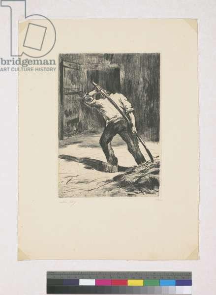 On the threshing floor, 1923 (etching)