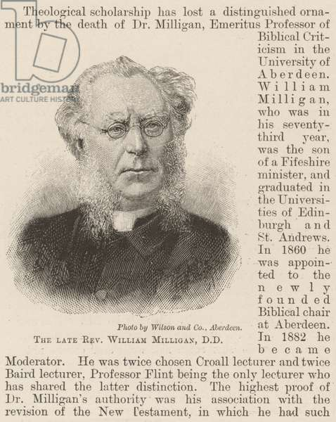 The late Reverend William Milligan, DD (engraving)