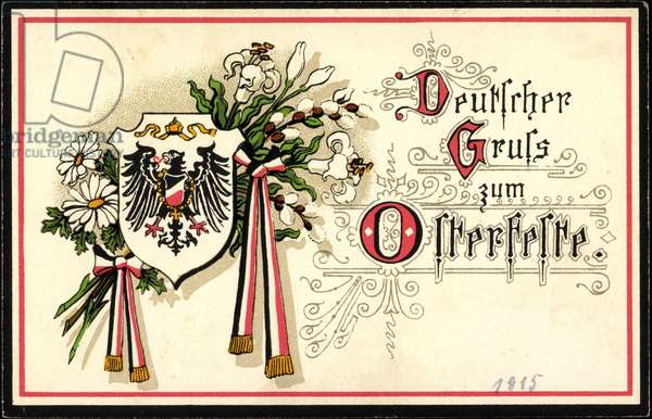 Passepartout Happy Easter, German Greeting, Coat of Arms