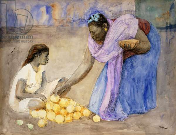 Two Tehuanas with Oranges; Dos Tehuanas con Naranjas, 1965 (watercolour and pen and ink on paper)