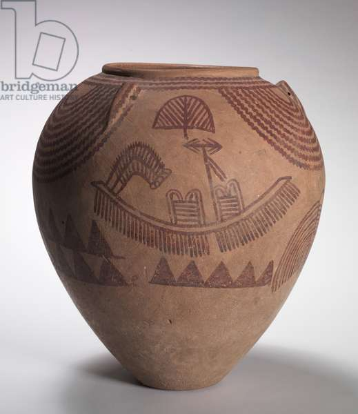 Decorated Jar with Boat Scenes, Middle Predynastic Period, Naqada IIc-d Periods, c.3300-3100 BC (marl clay pottery)