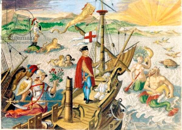 Christopher Columbus On His Ship