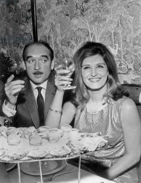 Dalida Dining With Eddie Barclay on February 3, 1965 (b/w photo)
