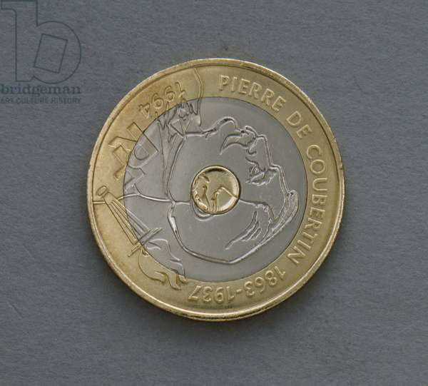 20 francs coin, 1994, 100th Anniversary of International Olympic Committee, Obverse, Pierre de Coubertin (1863-1937), France, 20th century