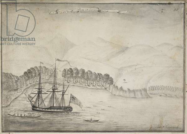 Drawing of the Dolphin anchored in Port Royal Bay, King George's Island [Tahiti], during Captain Samuel Wallis's voyage of discovery to the South Seas. June-August 1767