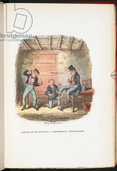 Master Bates explains a professional technicality, from The Adventures of Oliver Twist ... With twenty-four illustrations by Cruikshank, 1911 (colour litho)