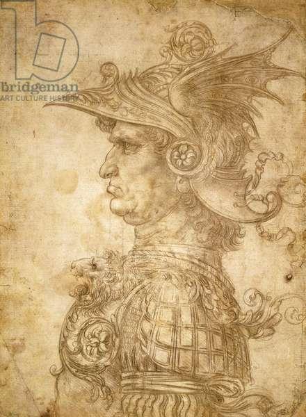 Profile of ancient captain, also known as Condottiero (The Warlord), circa 1472, by Leonardo da Vinci (1452-1519), drawing in silverpoint on prepared paper, 28.5x20.7 cm