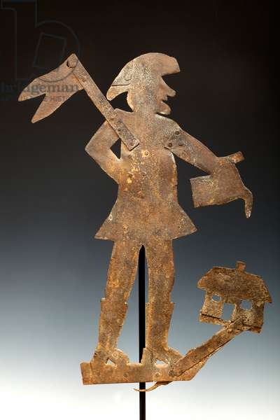 Man with House Weathervane (metal)