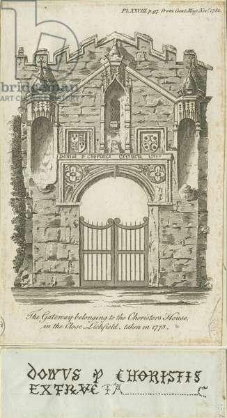 Lichfield - Gateway of Choristers' House: engraving, 1773 (print)