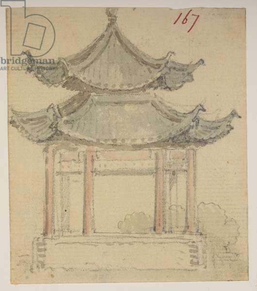 f.63 167 Temple., from an Album of 372 drawings of landscapes, coastlines, costumes and everyday life made during Lord Macartney's embassy to the Emperor of China, between 1792 and 1794 (pencil & w/c on paper)