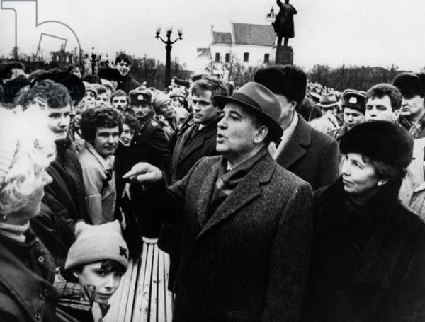 Mikhail Gorbachev, Accompany His Wife, Address The Crowd During His Visit to Lithuania. January 1990 (b/w photo)